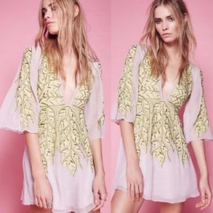 Free People Songbird Embellished Mini Dress XS NEW